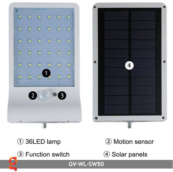 Đèn treo tường năng lượng mặt trời GV-WL-SW50 6