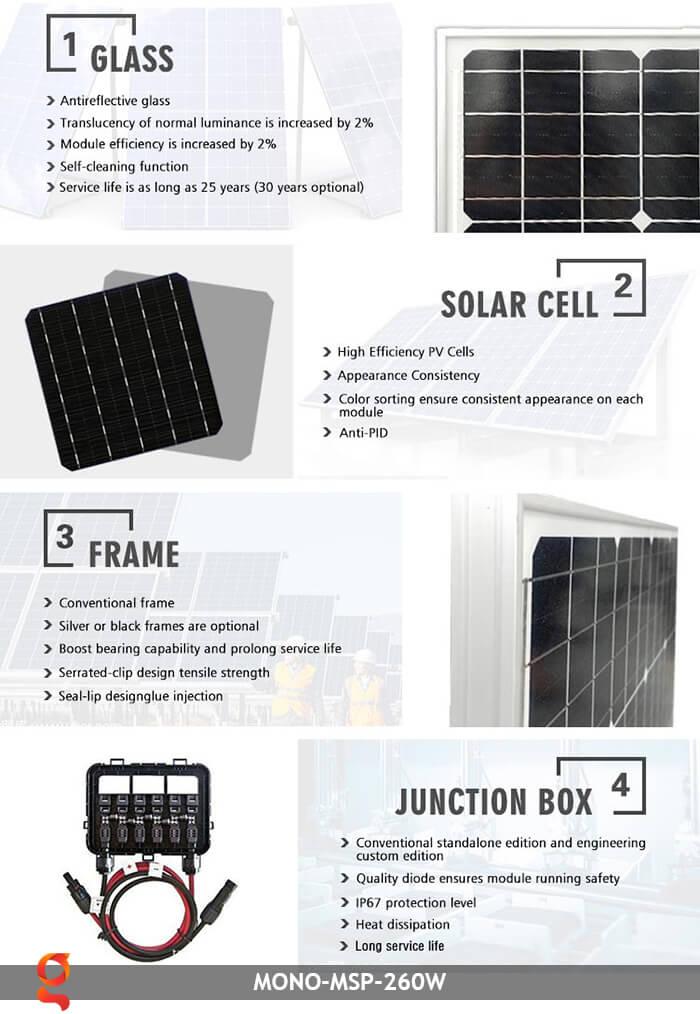 Tấm pin thu năng lượng mặt trời Mono MSP-260W 6