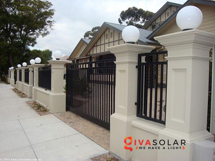 Lắp đặt đèn năng lượng mặt trời cho tường rào 3