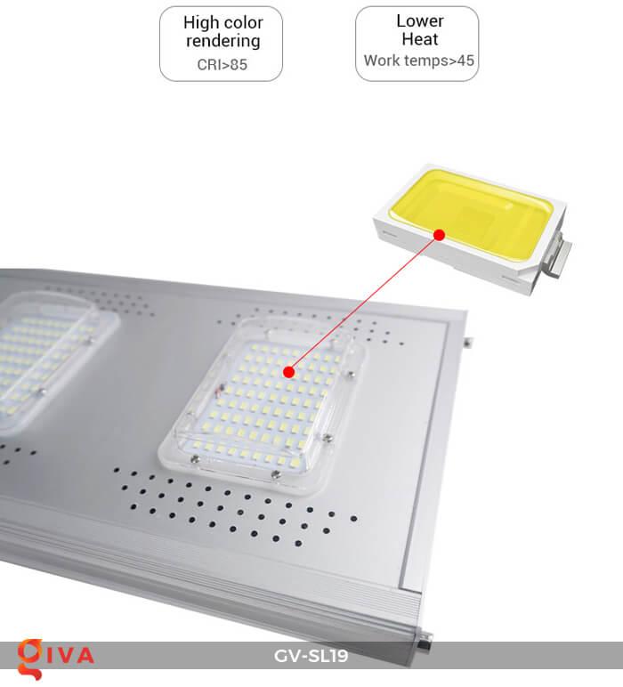 Đèn đường LED cao cấp năng lượng mặt trời GV-SL19 24