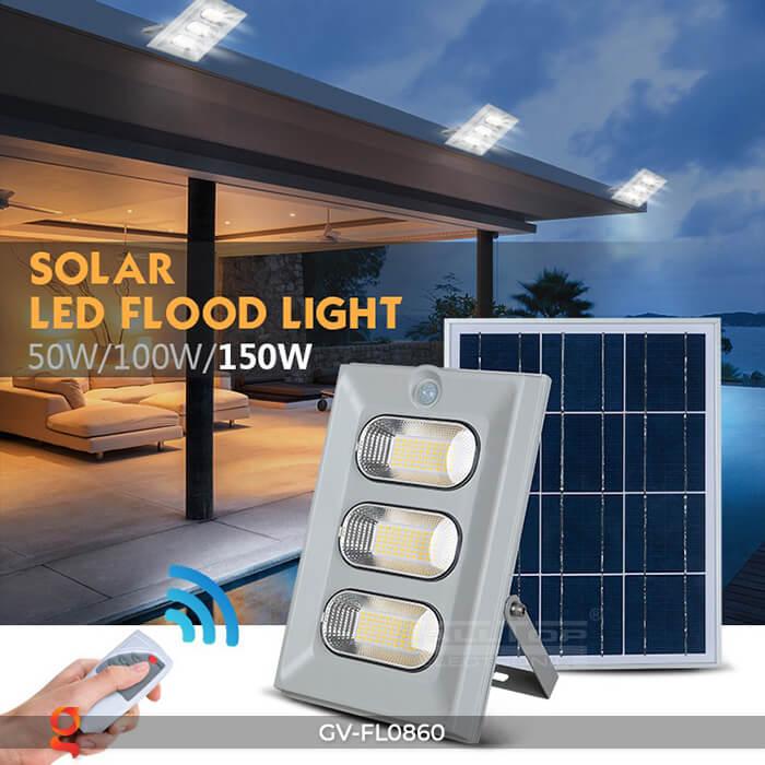 Đèn pha năng lượng mặt trời có cảm biến GV-FL0860 24