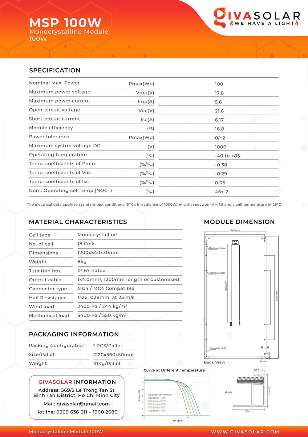 Mono MSP-100W Solar panel brochure 1