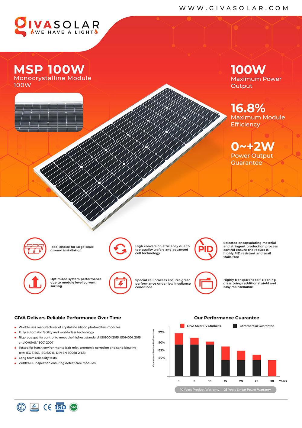 Mono MSP-100W Solar panel brochure