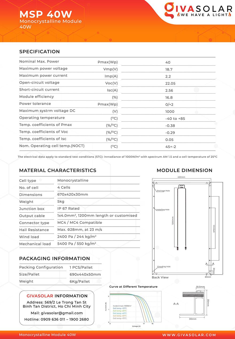 Mono MSP-40W Solar panel brochure 1