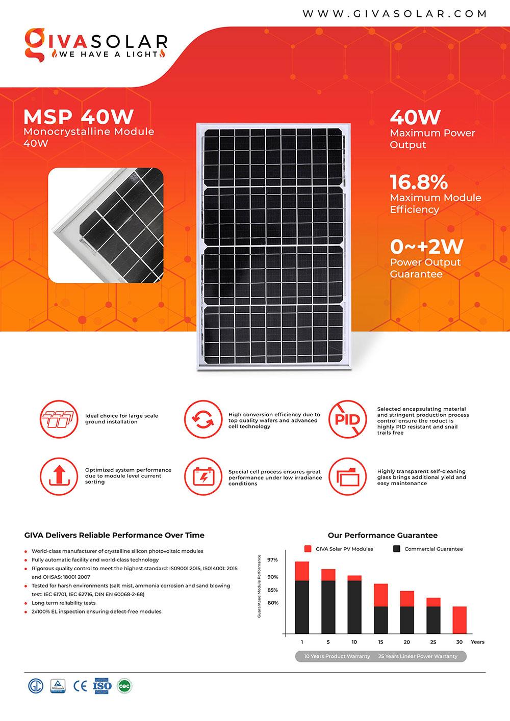Mono MSP-40W Solar panel brochure