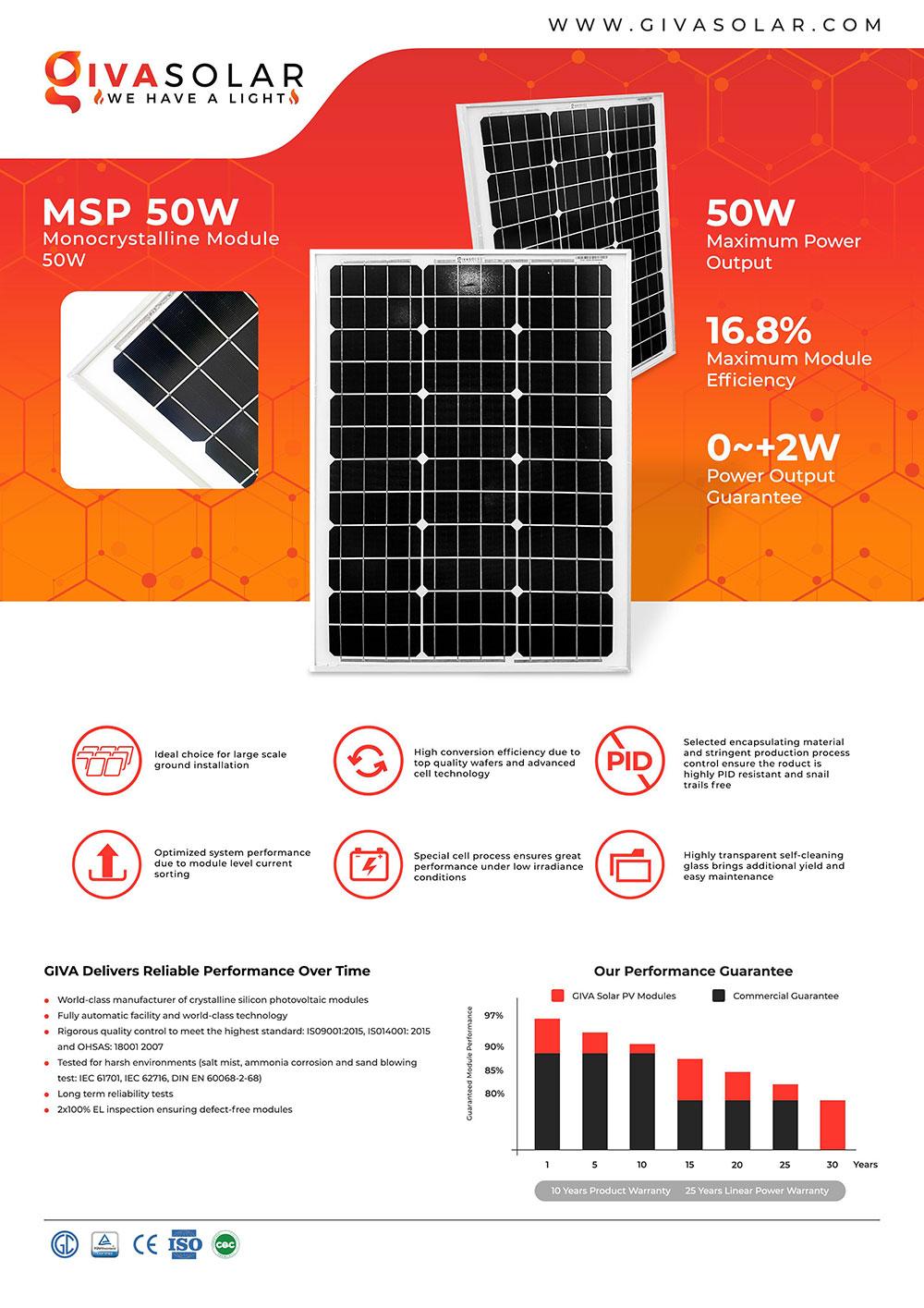 Mono MSP-50W Solar panel brochure