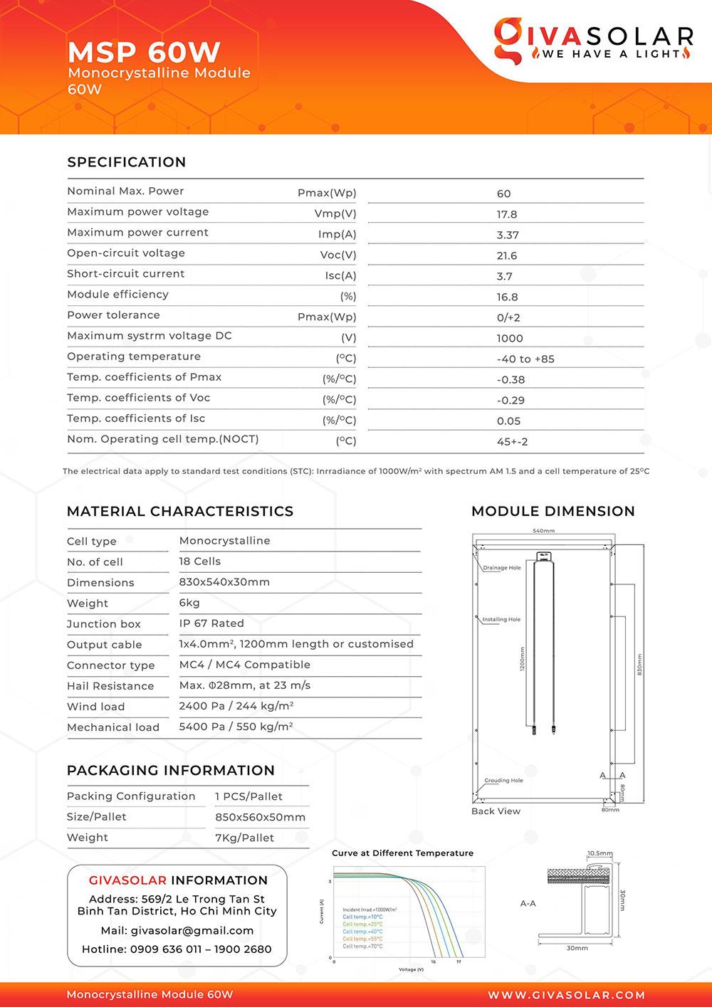 Mono MSP-60W Solar panel brochure 2