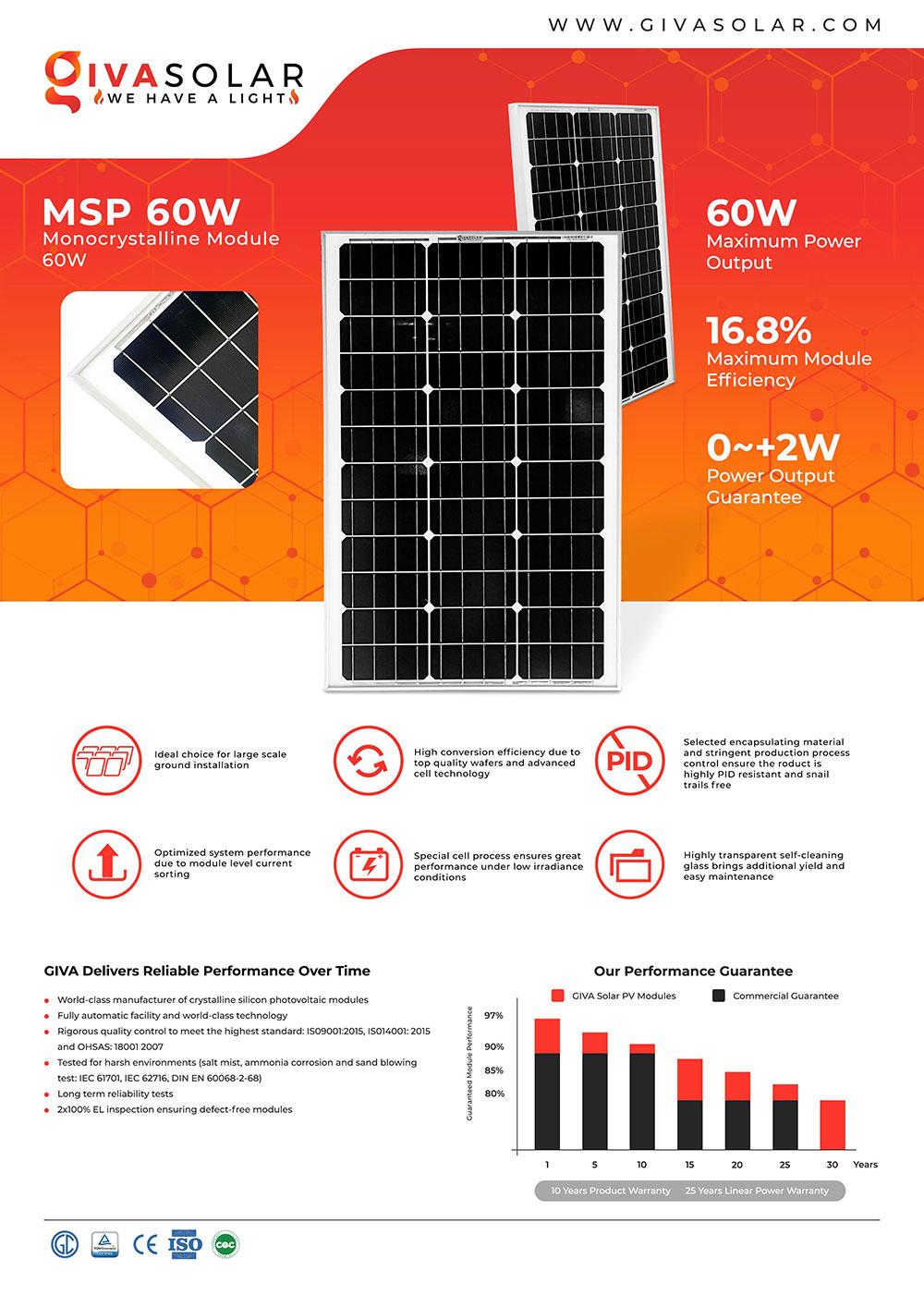 Mono MSP-60W Solar panel brochure 1