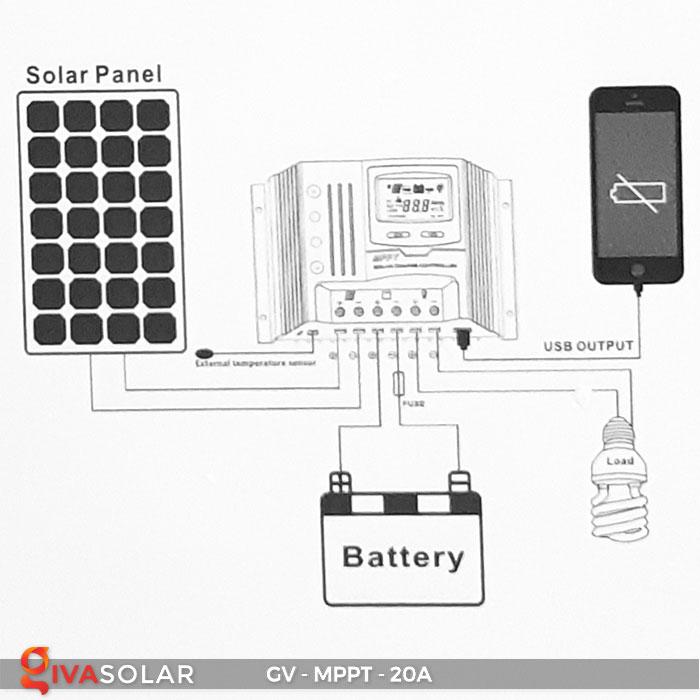 Điều khiển sạc năng lượng mặt trời MPPT 20A 7