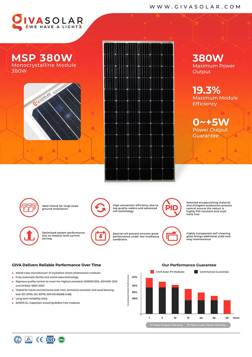 Mono MSP-380W Solar panel brochure
