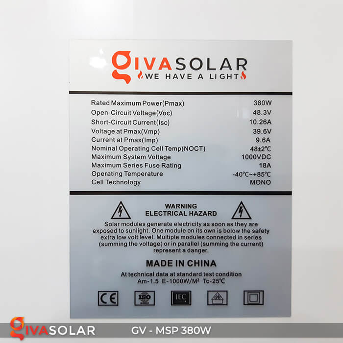 Pin năng lượng mặt trời Mono 380W 13