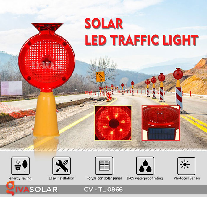 Đèn cảnh báo giao thông năng lượng mặt trời GV-TL0866 1