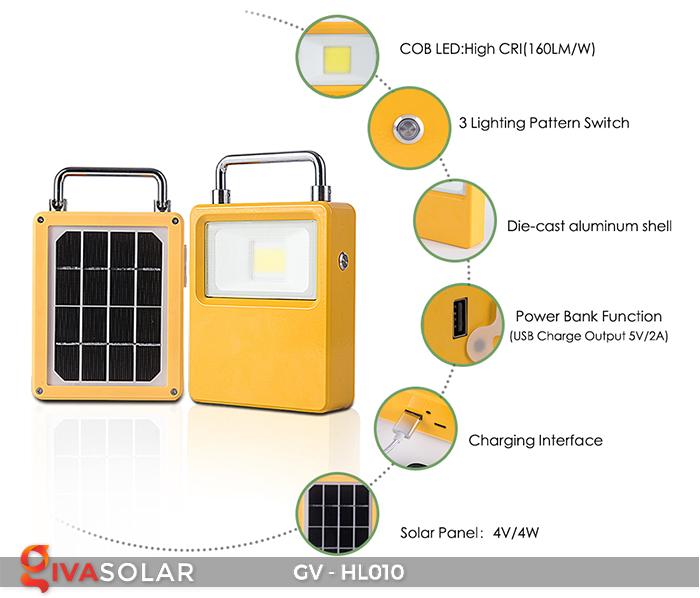 Đèn cắm trại mini năng lượng mặt trời GV-HL010 2