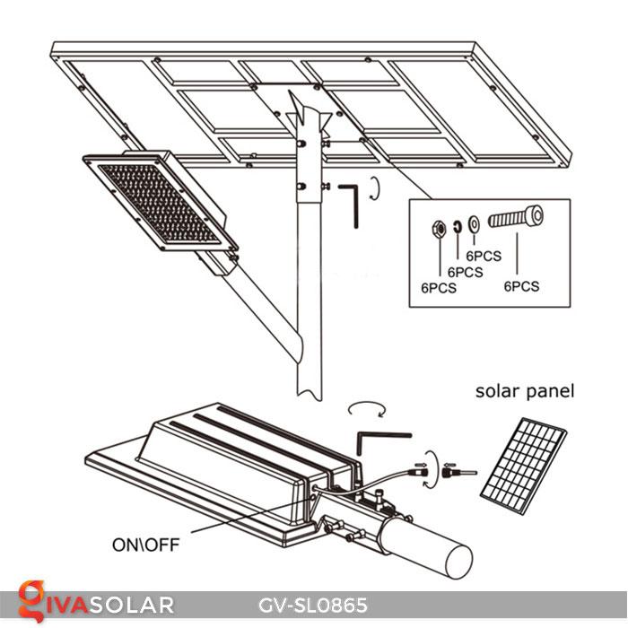 Đèn đường phố năng lượng mặt trời GV-SL0865 12