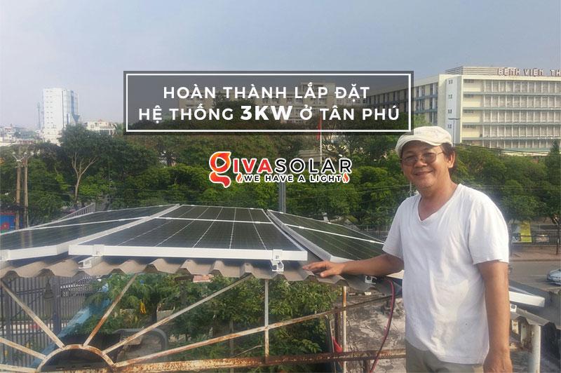 Lắp đặt hoàn thành hệ thống hòa lưới 3KW tại Tân Phú
