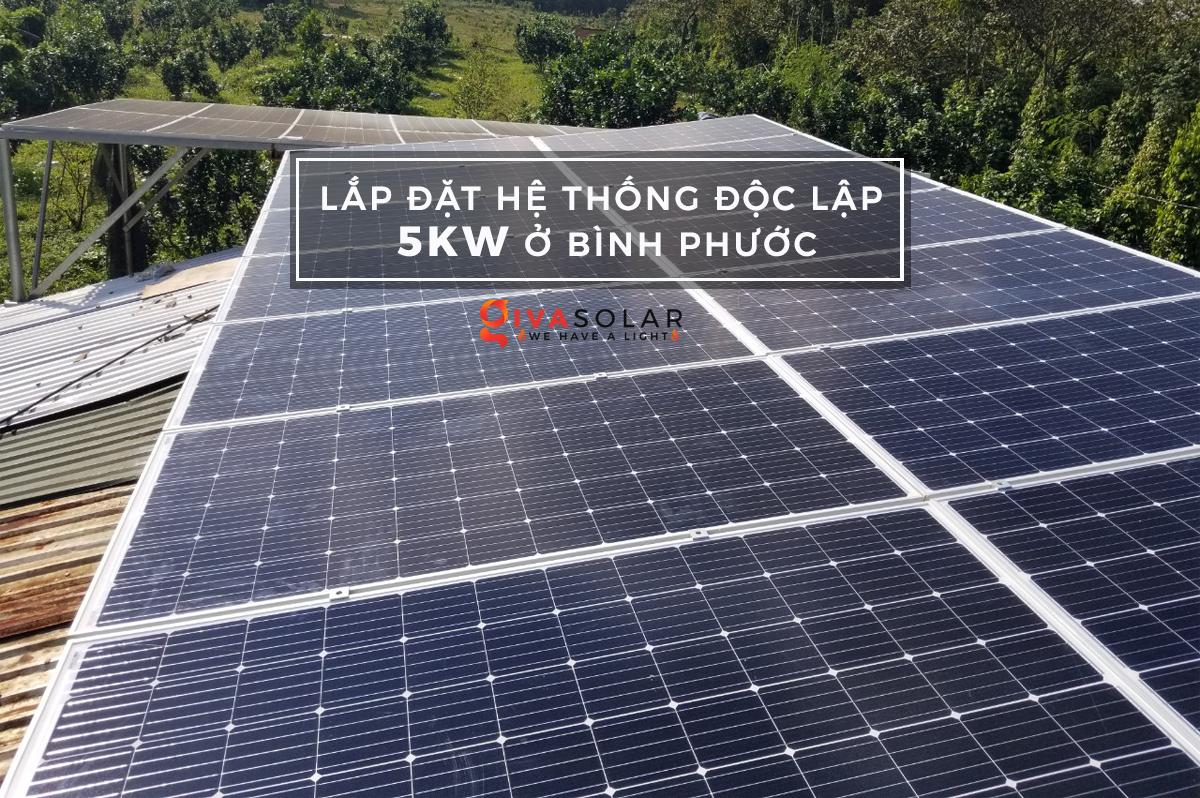Lắp đặt hệ thống năng lượng mặt trời độc lập 5KW ở Bình Phước