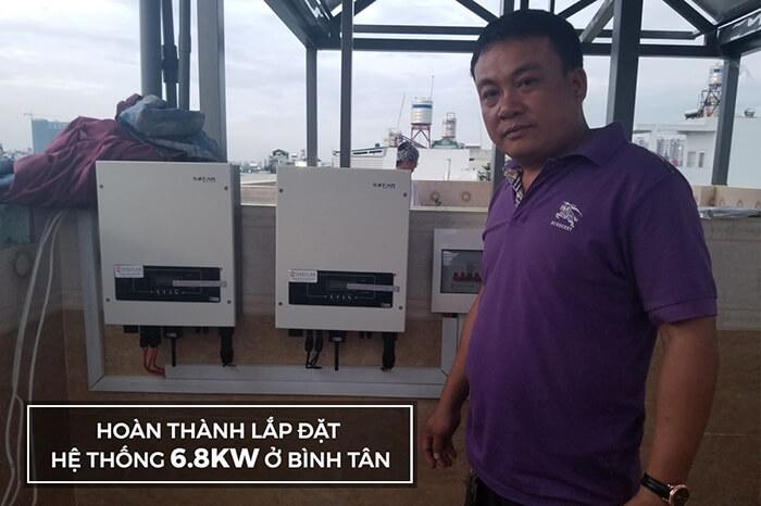 Lắp đặt hoàn thành hệ thống hòa lưới 6.8KW ở Bình Tân