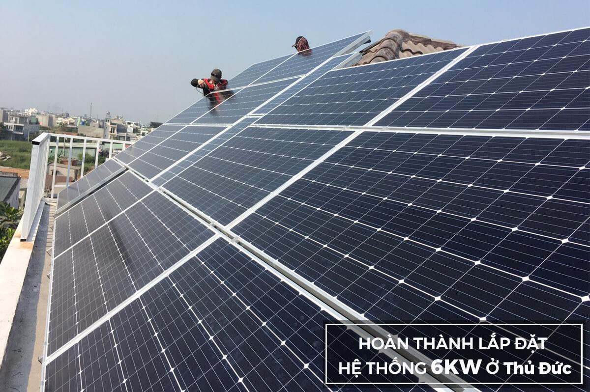 Hoàn thành hệ thống hòa lưới 6KW cho anh Khánh ở Thủ Đức