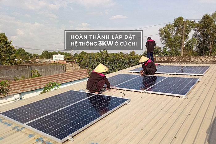 lắp hệ thống điện mặt trời hòa lưới 3KW cho anh Chất ở Củ Chi
