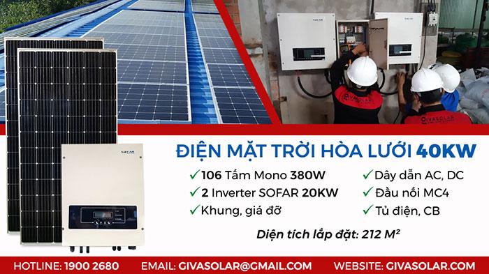 cấu tạo hệ thống điện mặt trời hòa lưới 3 pha 40KW