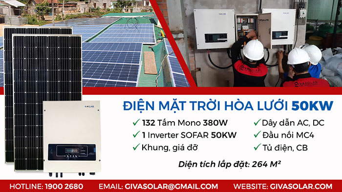 Giá điện năng lượng mặt trời hòa lưới 3 pha 50 KWp