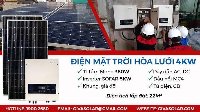 combo điện năng lượng mặt trời hòa lưới 4KW
