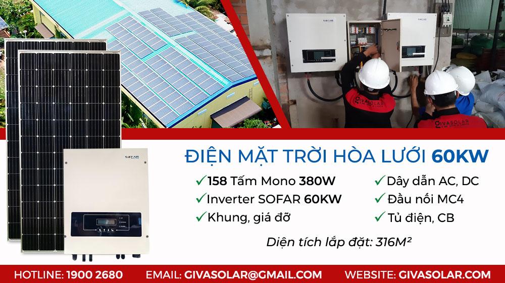 điện mặt trời hòa lưới 60KW