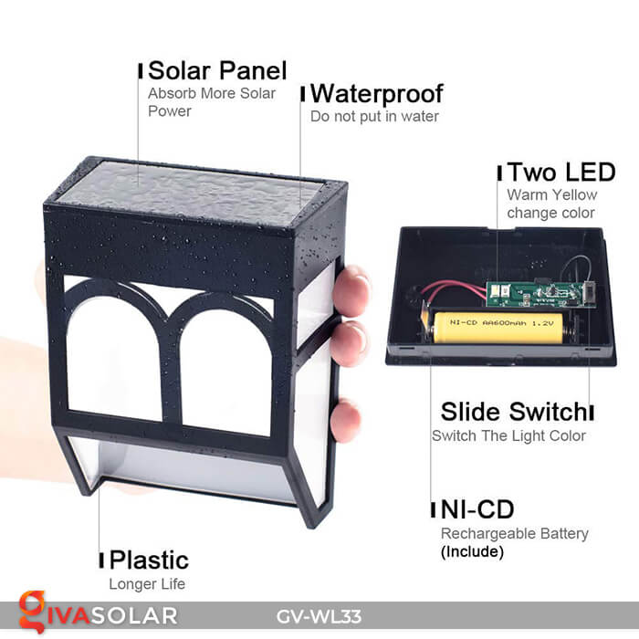 Đèn gắn tường trang trí năng lượng mặt trời GV-WL33 1