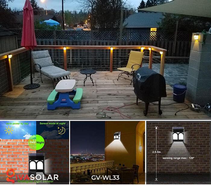 Đèn gắn tường trang trí năng lượng mặt trời GV-WL33 12
