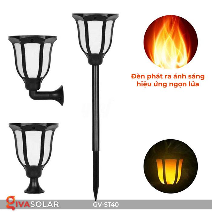 Đèn LED năng lượng mặt trời 3 trong 1 ánh sáng ngọn lửa 13