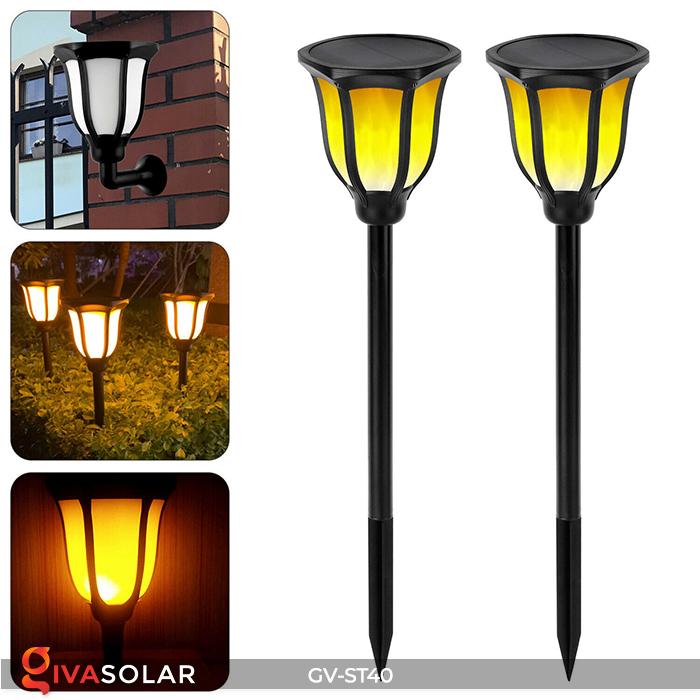 Đèn LED năng lượng mặt trời 3 trong 1 ánh sáng ngọn lửa 2