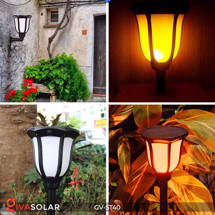 Đèn LED năng lượng mặt trời 3 trong 1 ánh sáng ngọn lửa 9