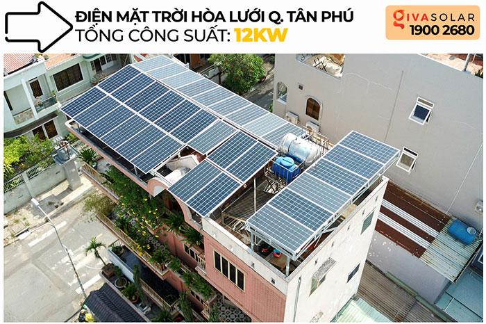 dự án điện mặt trời hòa lưới 12 KW cho anh Trí ở Tân Phú 1