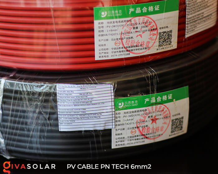 Dây cáp điện DC năng lượng mặt trời PN Tech 6mm2 4