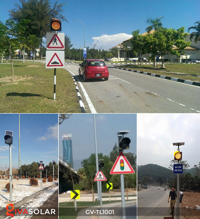Đèn LED cảnh báo giao thông năng lượng mặt trời GV-TL1001 15