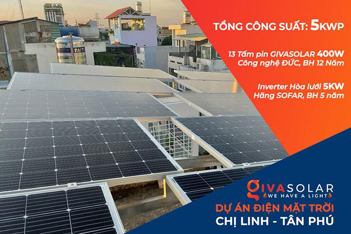 hòa lưới điện mặt trời cho hộ gia đình 5KWP - Chị Linh - Tân Phú 1
