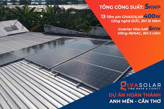 hệ thống điện mặt trời hòa lưới 5KW Anh Mến Cần Thơ