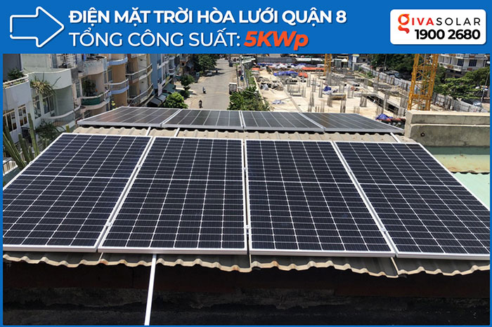 Dự án điện năng lượng mặt trời hòa lưới 5KWP cho anh Huân ở Quận 8