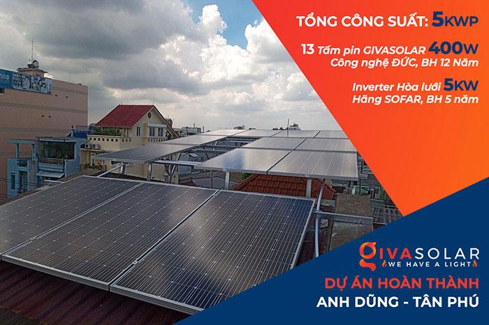 hệ thống điện mặt trời hòa lưới 5KW Anh Dũng Tân Phú