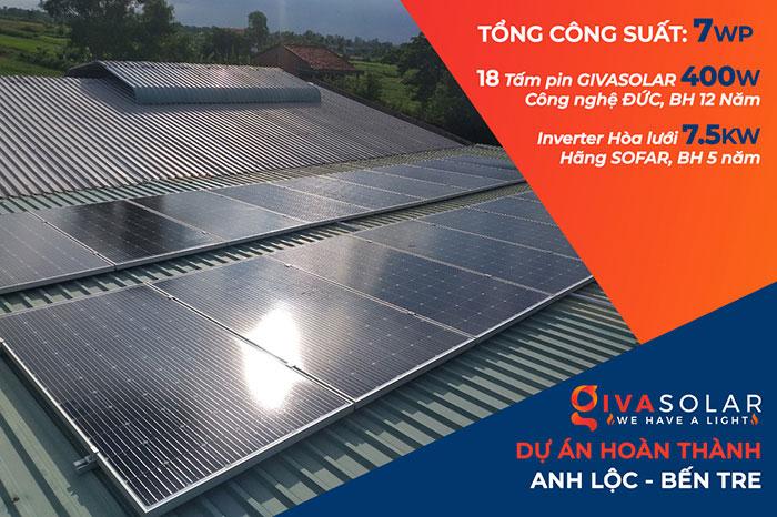 hệ thống năng lượng mặt trời 7KWp anh Lộc Bến Tre