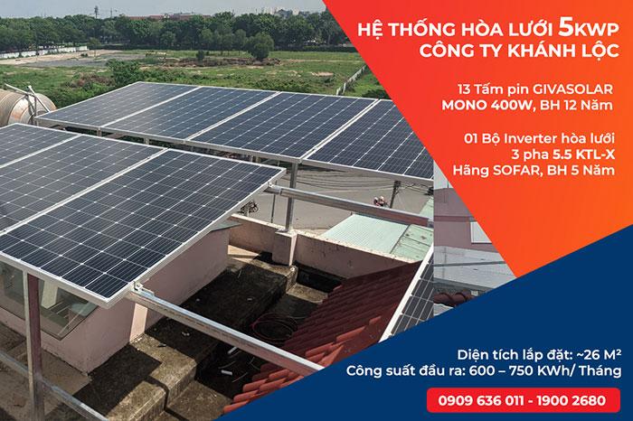 Lắp đặt điện mặt trời cho doanh nghiệp - Công ty Khánh Lộc