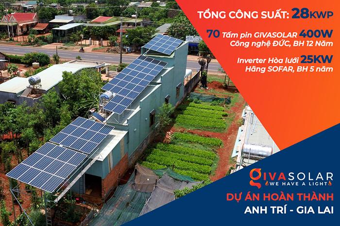 Thi công dự án điện năng lượng mặt trời hòa lưới 28KWP ở Gia Lai