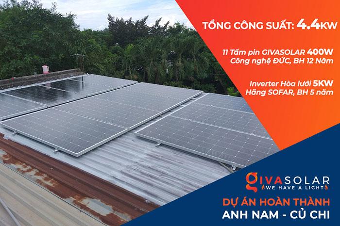 Thi công hệ thống hòa lưới điện mặt trời 4.4KW Anh Nam Củ Chi