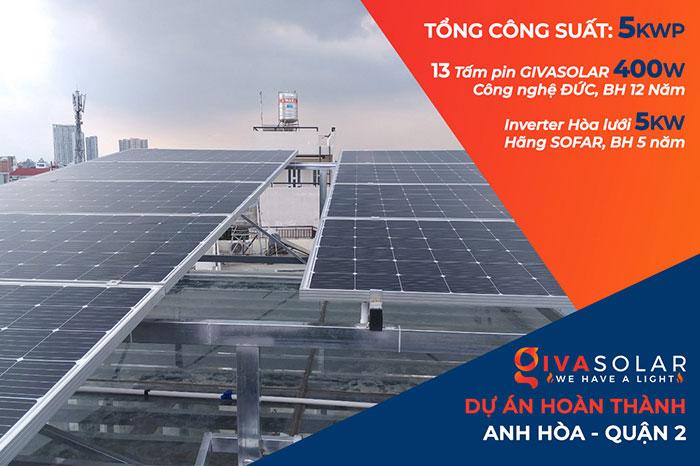 dự án hòa lưới điện mặt trời 5KW - anh Hòa - Quận 2