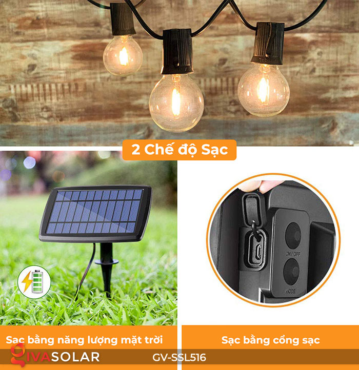 Dây đèn LED chiếu sáng năng lượng mặt trời G40 10