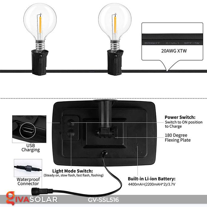 Dây đèn LED chiếu sáng năng lượng mặt trời G40 12