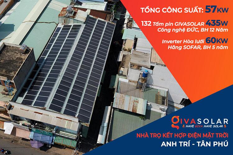 Lắp đặt điện mặt trời hòa lưới 57KWp để kinh doanh nhà trọ ở Tân Phú