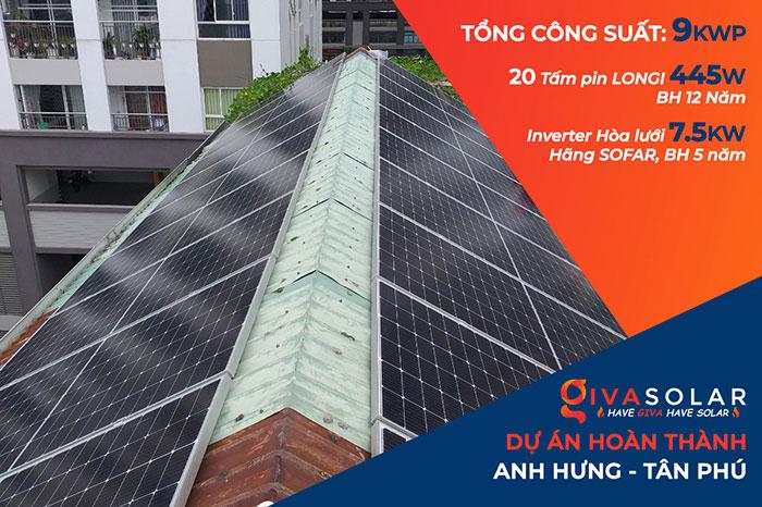 Dự án điện năng lượng mặt trời áp mái 9KW cho anh Hưng ở Tân Phú