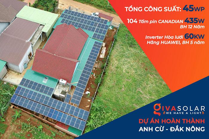 Dự án điện năng lượng mặt trời hòa lưới 45KW cho anh Cừ ở Đắk Nông