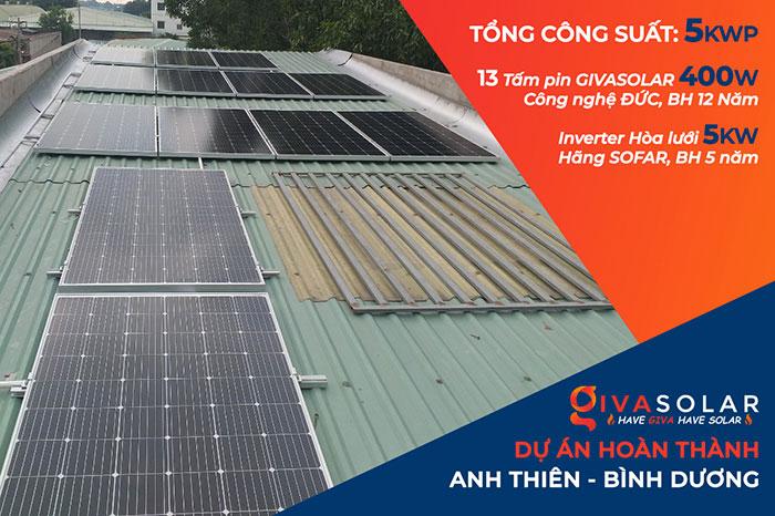 Dự án lắp đặt điện mặt trời 5KW cho gia đình anh Thiên ở Bình Dương